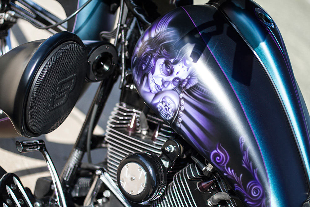 Custom Harley Gas Tanks with Speakers and Tweeters Mounted to Frame