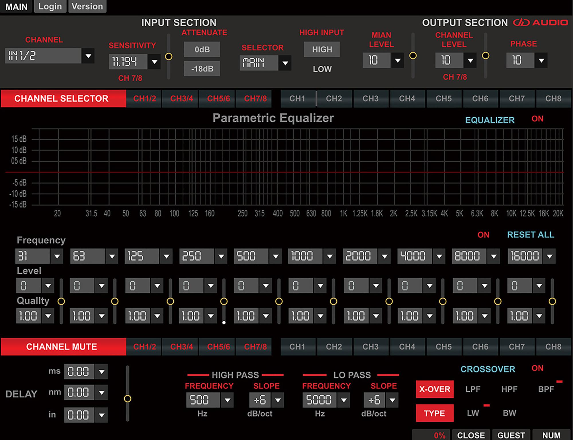 DSI-1 Signal Processor App Screen