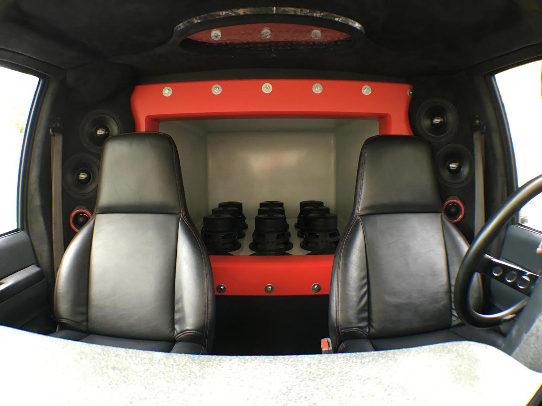 Street Sounds Astro Van Interior - facing huge enclosure