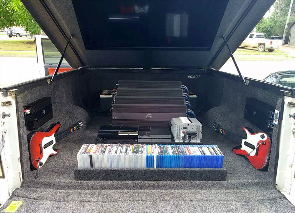 Ford F-150 Gamer Truck - Games, Rockband Controllers, console, flatscreen, amps in truck bed