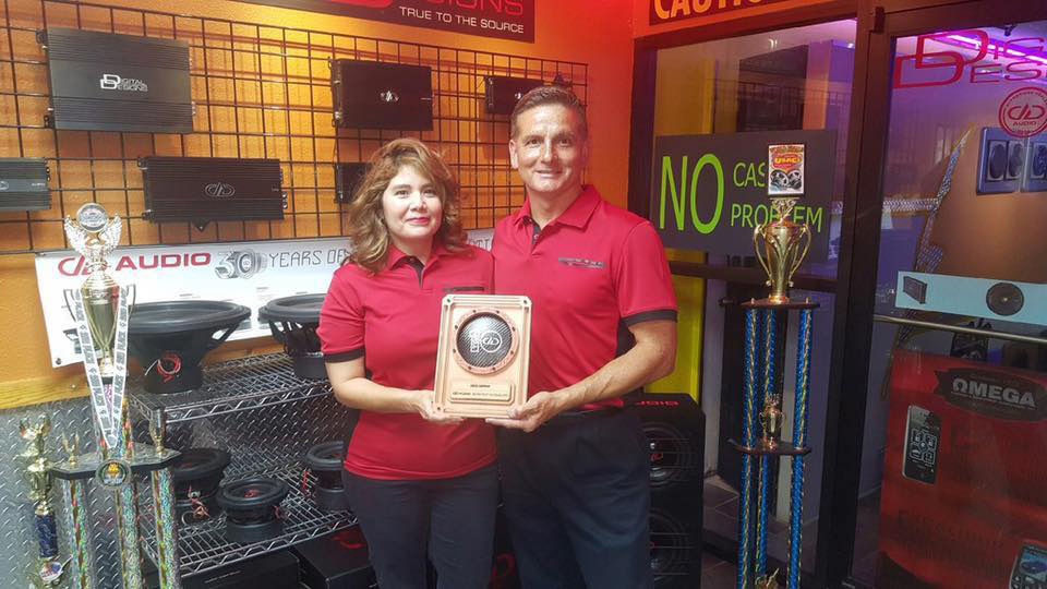 Audio Express Eddie and Michelle with Top 10 Dealer Award