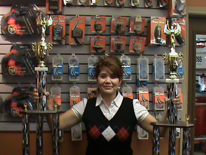 Audio Express Michelle Showing Off Trophies