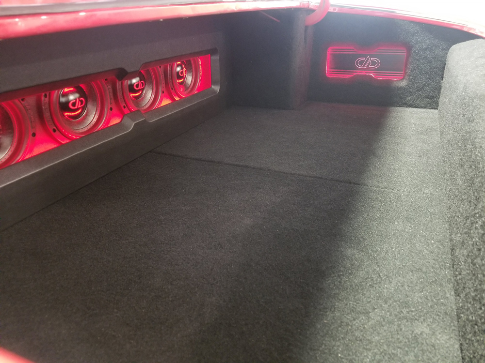 Camaro finished enclosure lit up from side