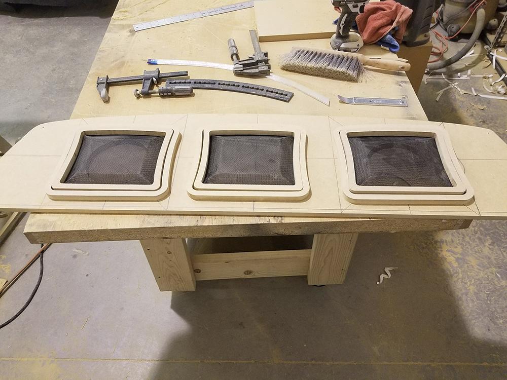 Camaro rear speaker enclosure build grills