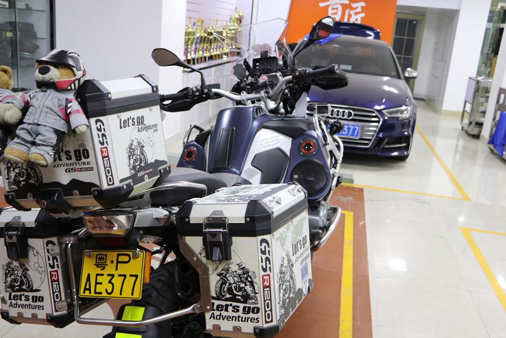 Yin Jiang Car Audio - BMW Adventure Bike with Custom Audio - Back with Cargo