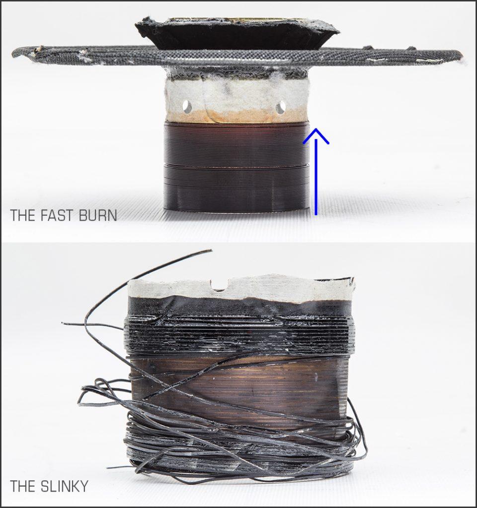 Burned Speaker Voice Coil Diagnosis - Voice coil fast burn vs the slinky