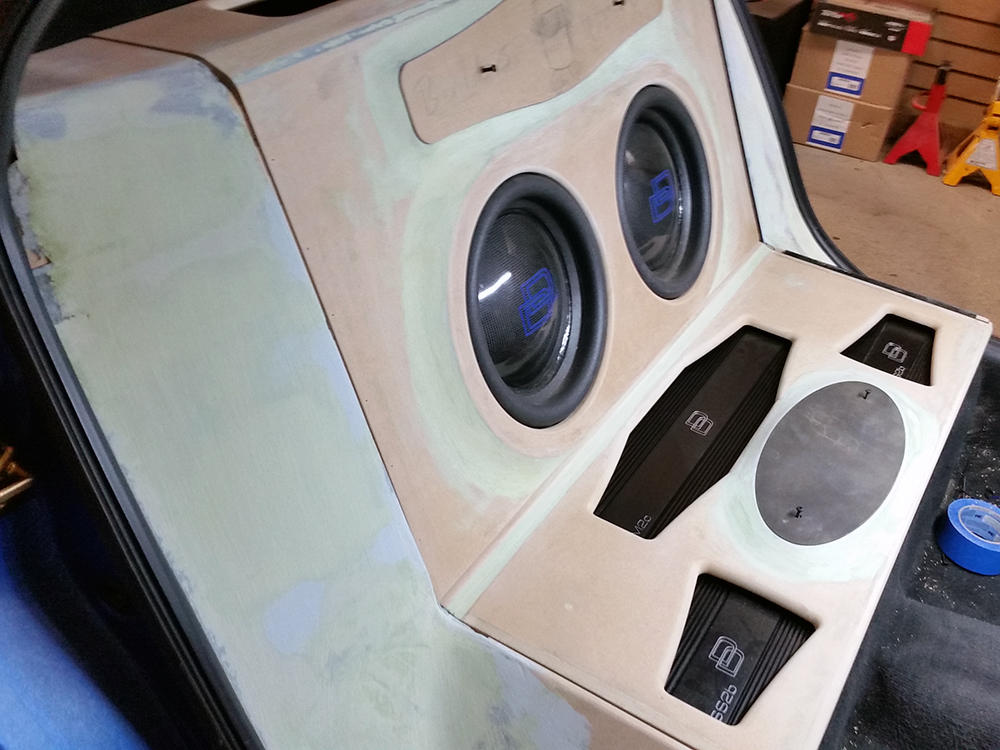SRT-4 Neon Enclosure Being Built with Amps and Enclosure