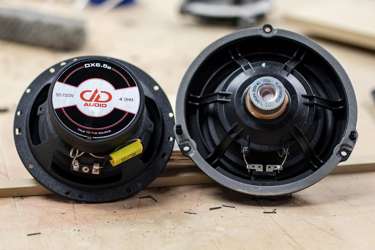 Side by Side comparison of OEM Door Speakers vs DX6.5 - Back - Motor