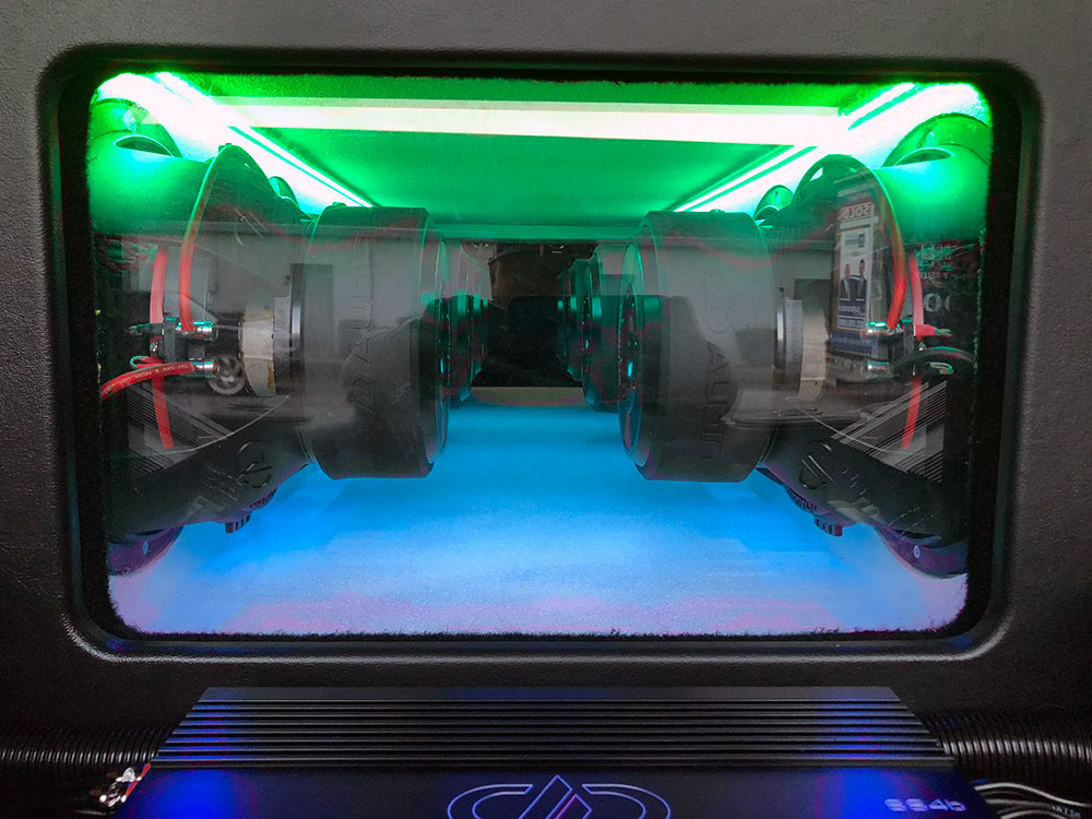 Green LED Surrounding Subs in Enclosure