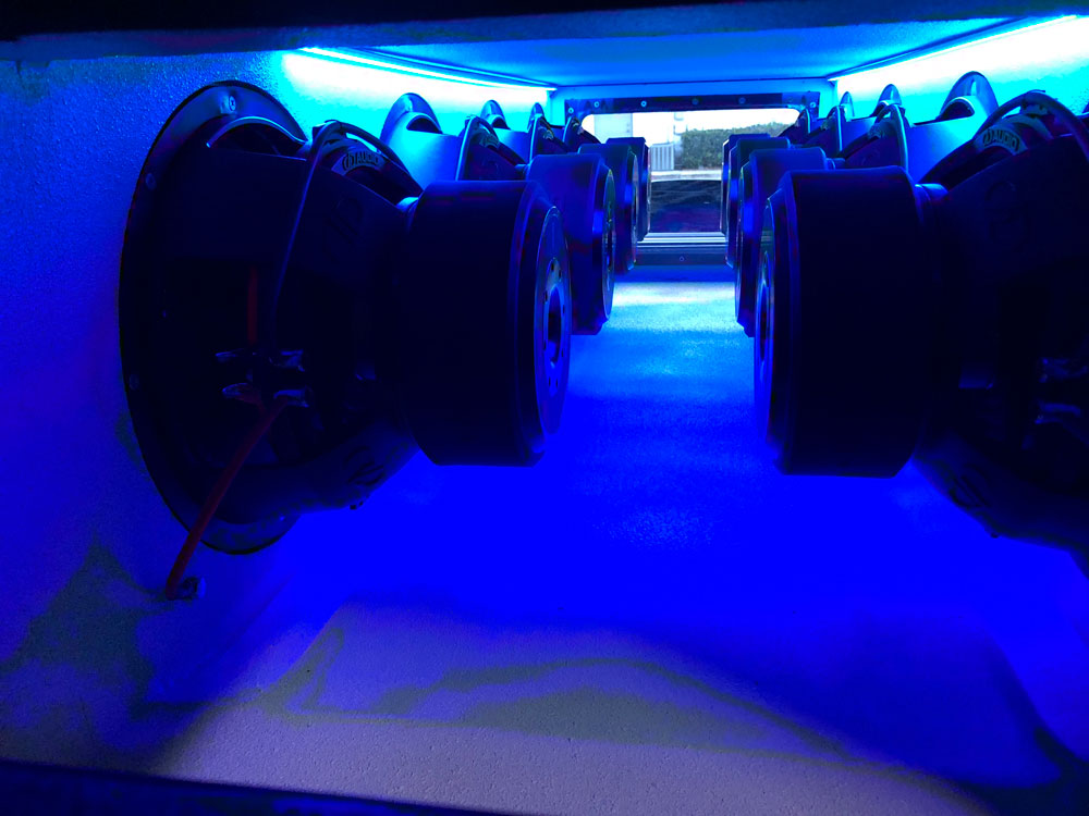 Blue LED Surrounding Subs in Enclosure