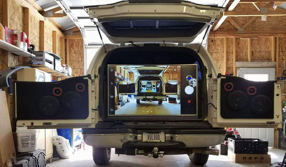 Matt Hermann's Beast Rear Cargo with Incredible TV and Speaker Display
