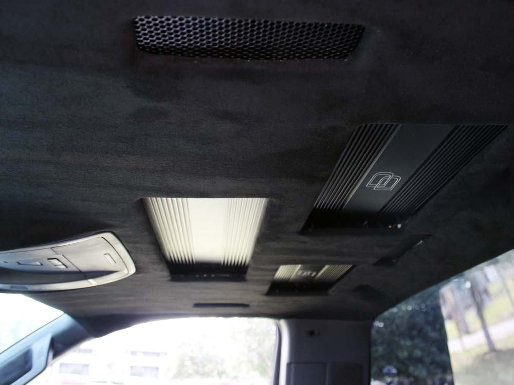 Amps mounted in ceiling of truck