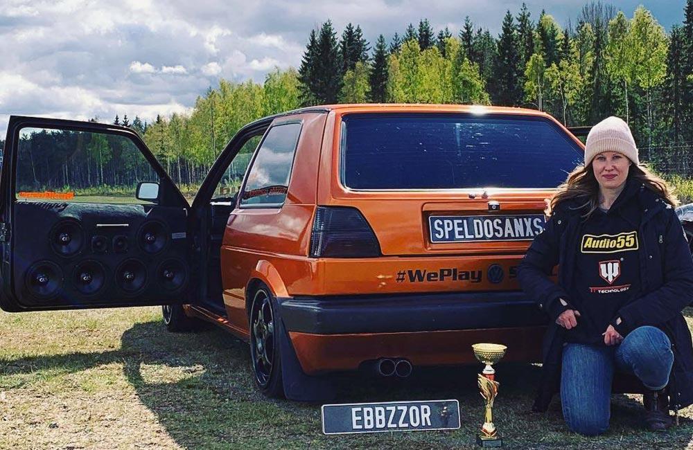 Ebba with her award winning VW Golf