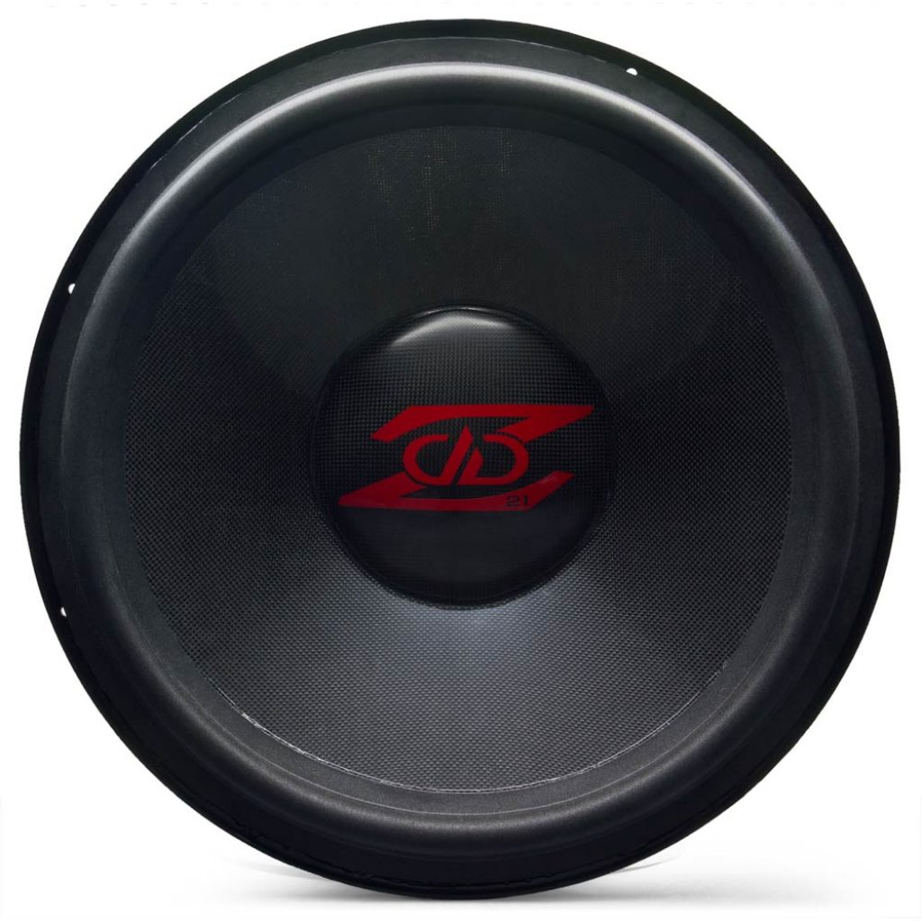 custom built, USA subwoofer, gloss carbon fiber dust cap and cone