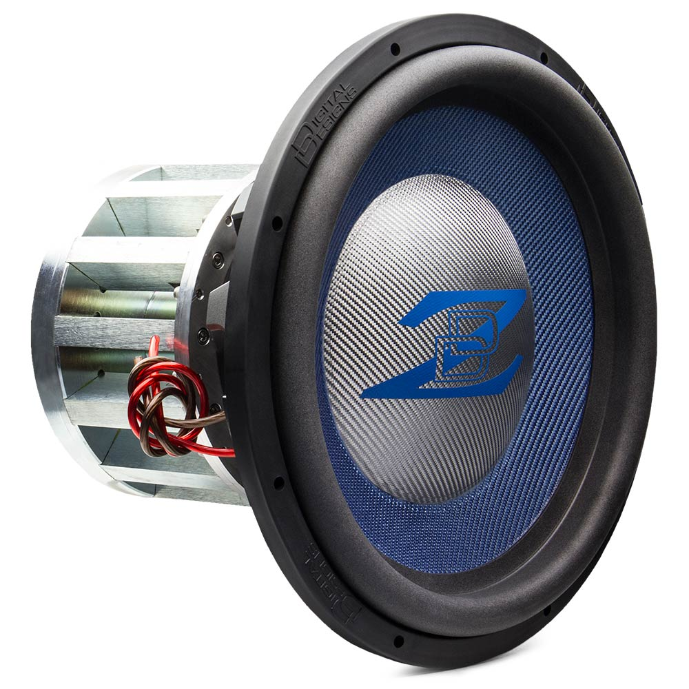custom built, USA subwoofer, platinum composite dust cap, blue composite cone, blue logo