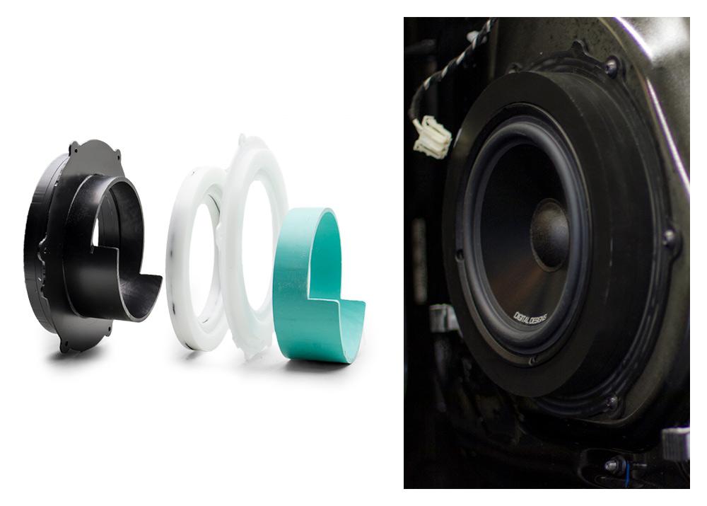 photo of midrange speaker installed