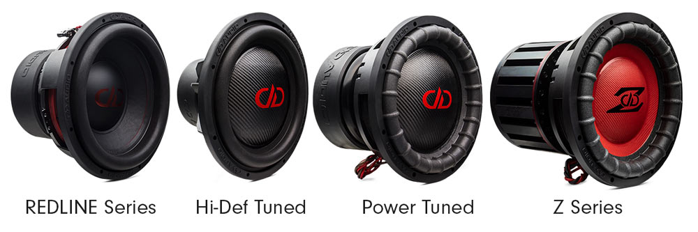 REDLINE Series, HiDef Tuned, Power Tuned and Z Series Subwoofers side by side