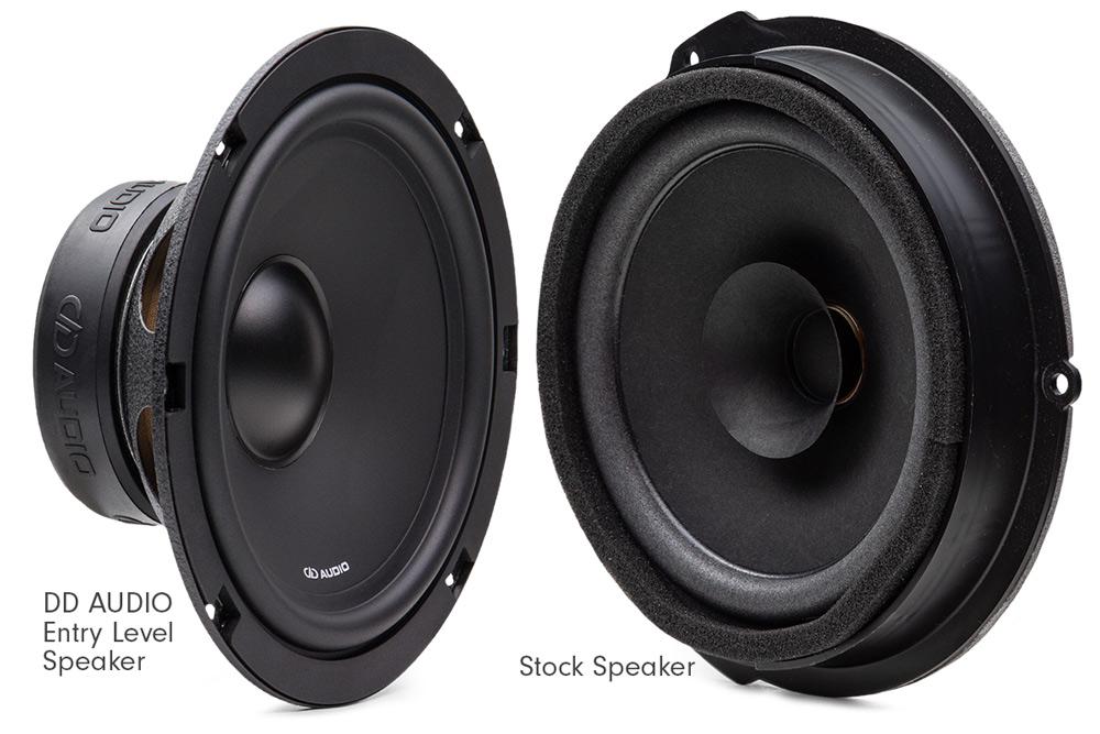 DD Audio Entry Level Speaker vs Stock Speaker angled to surround, cone, dustcap