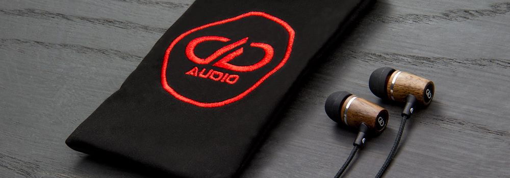 DXB-1.1 earbuds with embroidered carrying pouch