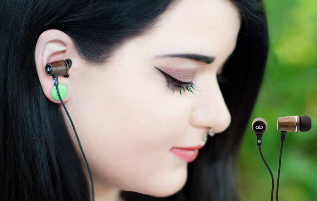 DXB-1.1 earbuds in use
