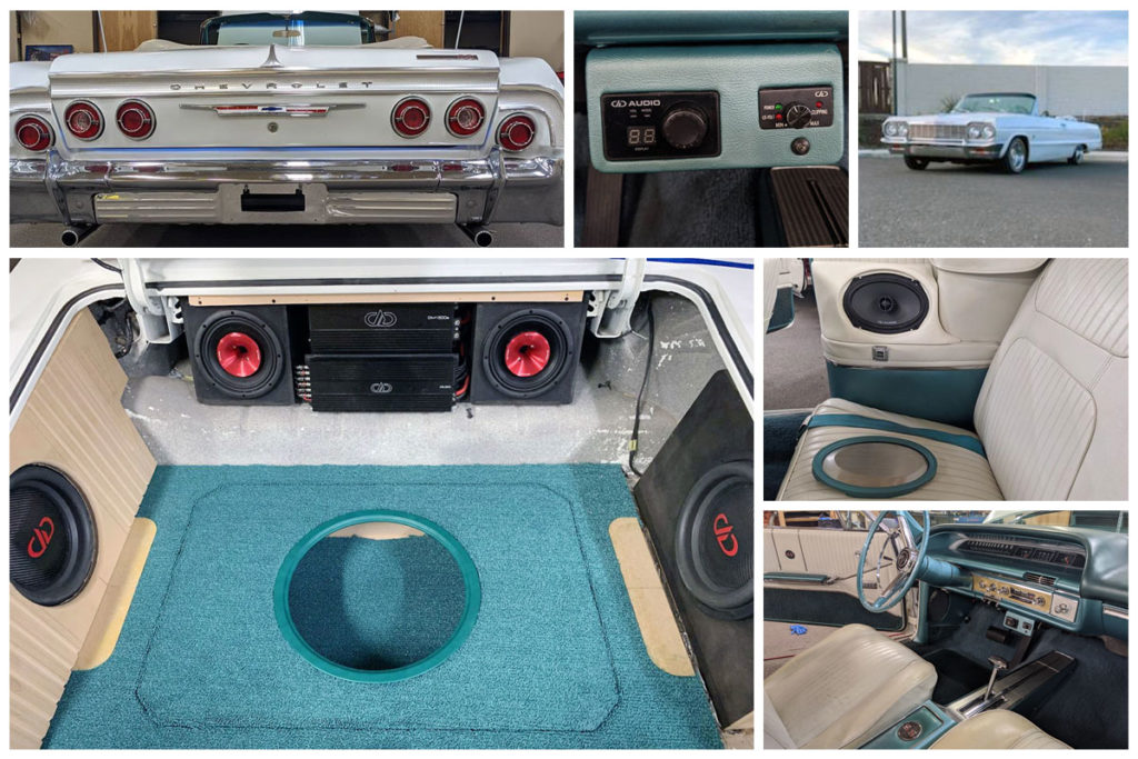 Collage of pics from the Livewire Customs built 64 Impala - Trunk, Backseat, Front Seat and Exterior. Nicely integrated DD equipment throughout