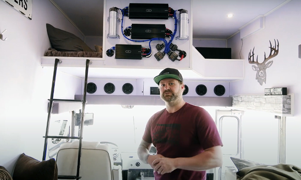 Ryan Phillips standing inside Sled Zeppelin