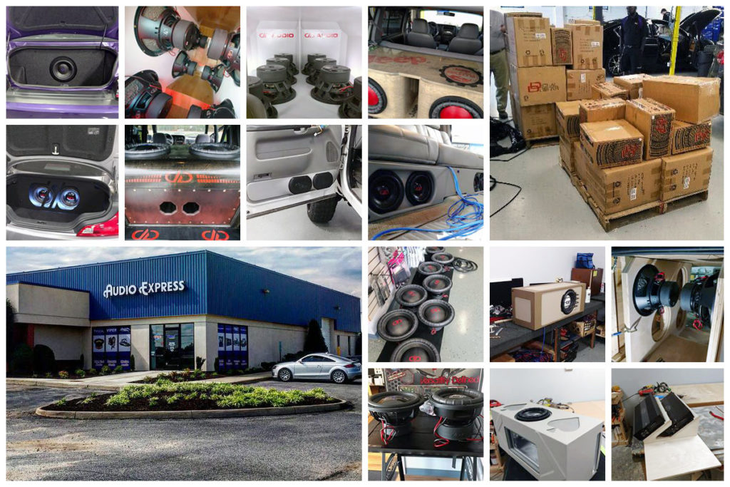 Collage of custom builds, enclosures, DD Product, shop and exterior of Audio Express.