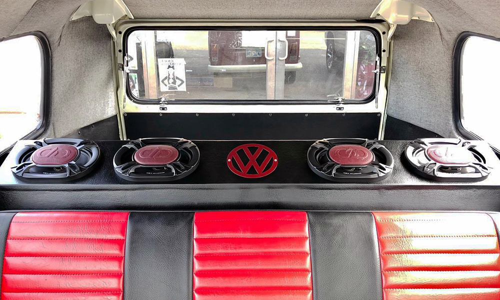Vic's Garage Built VW Bus with DD Speakers behind rear seating