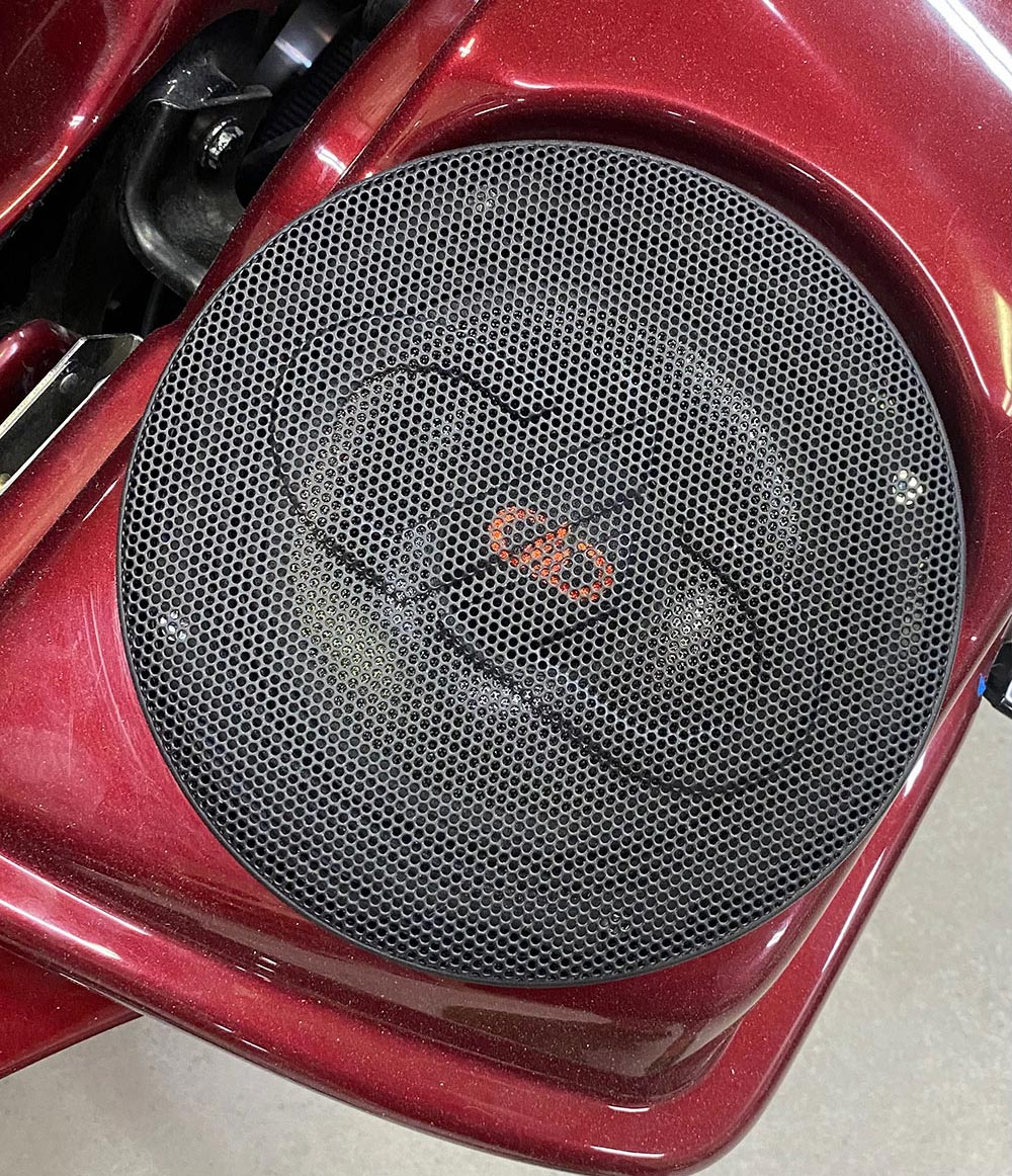 Photo of DD speaker up close in Real Audio motorcycle build