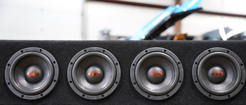 Photo of subs in custom enclosure for truck from Da Bass