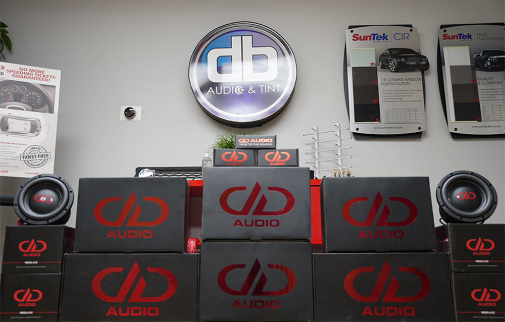 Photo of DD Audio product stacked in Da Bass store